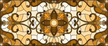 Målat glassillustrationen med abstrakt begrepp blommar, virvlar runt och sidor på en ljus bakgrund, horisontalriktningen, sepia royaltyfri illustrationer