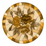 Målat glassillustrationen med blommor och sidor av steg i en ljus rund ram, signalbrunt, Sepia Arkivbild