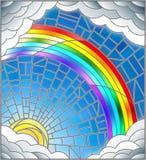 Målat glassillustrationsol, regnbåge och moln på bakgrund för blå himmel stock illustrationer