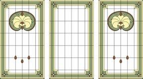 Målat glasspanel i en rektangulär ram Klassiskt fönster, abstrakt blom- ordning av knoppar och sidor i jugendstilstylen Arkivbilder