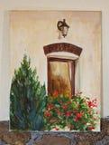 Målat konstverk - fönster med blommor och gran på kanfas arkivbilder