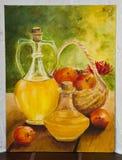 Målat konstverk - krus med fruktfruktsaft royaltyfria foton