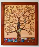 Målat konstverk - trädet med virvel förgrena sig kanfas arkivbilder