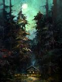 Målat nattlandskap med huset och månen Royaltyfria Foton