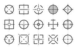 Måldestination Fläck för bullseye för markör för fokus för syfteprickskyttfors som uppsätta som mål sikta uppsättningen för pekar stock illustrationer