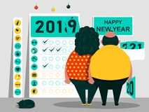 Målen, planet och målen för åren 2019 - 2020 21 lyckligt nytt år royaltyfri illustrationer