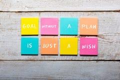 Målet utan ett plan är precis en önska - motivational handskrift royaltyfria bilder