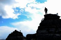 M?lframg?ng, maximal passion och bergsbestigning arkivbild