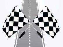 Mållinje med flaggor vektor illustrationer