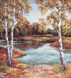 Målning Autumn Landscape, träd Royaltyfri Bild