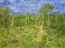 Målning av den förhistoriska mannen Arkivfoto