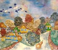 Målning av den ryska byn med modern stil. Arkivfoton