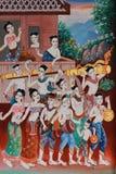 Målning av det traditionella raketfestivalsymbolet av thailändska kulturhobbyer, thailändsk stilmålning på tempelväggen fotografering för bildbyråer