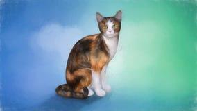 Målning av en katt Arkivbild