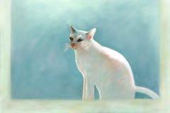 Målning av en vit katt Royaltyfri Foto