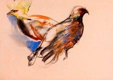 Målning av fåglar Arkivfoto