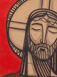 Målning av Jesus Christ på hans passion stock illustrationer