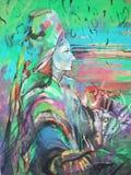 Målning av kvinnan som bär en head halsduk med en blick av njutningen och trotset mot en gammal grungegrafitti, målade färgrik gr royaltyfri illustrationer