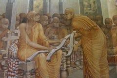 Målning av liv av Buddha från bildhus på det Kelaniya tempelkomplexet Royaltyfri Foto