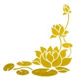 Målning av lotusblomma med den snabba banan Arkivfoton