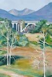 Målning av ravin Seco och San Gabriel Mountains nära Pasadena, CA Arkivbild