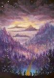 Målning av violetta berg och öar, vegetation, gryning, abstrakt landskap, mystisk natur, stolpe-apokalyps, solnedgång Watercol Royaltyfri Foto
