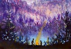 Målning av violetta berg och öar, vegetation, gryning, abstrakt landskap, mystisk natur, stolpe-apokalyps, solnedgång Watercol Royaltyfri Fotografi