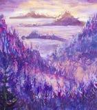 Målning av violetta berg och öar, vegetation, gryning, abstrakt landskap, mystisk natur, stolpe-apokalyps, solnedgång Watercol Royaltyfri Bild