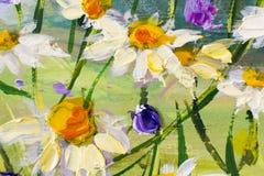 Målning av vita tusenskönor blommar, härliga fältblommor på kanfas Impasto för palettkniv konstverk Royaltyfria Foton
