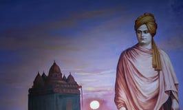 målning 3D av Vivekandanda - på det Kanyakumari vaxmuseet royaltyfria foton