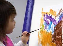 målning för 3 barn Arkivfoto