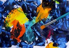 Målning för abstrakt konst med akrylfärger Arkivbild
