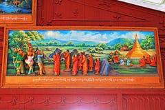 Målning för berättelse 3D för Shwedagon pagodBuddha, Yangon, Myanmar Arkivbilder
