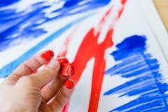 Målning för finger för samtida konsttrend abstrakt royaltyfri foto