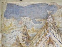 Målning för freskomålning för THAILÄNDSK berömd unik mytberättelse för ESARN vägg- Royaltyfri Bild