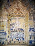 Målning för freskomålning för THAILÄNDSK berömd unik mytberättelse för ESARN vägg- Arkivbilder