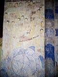 Målning för freskomålning för THAILÄNDSK berömd unik mytberättelse för ESARN vägg- Royaltyfri Fotografi