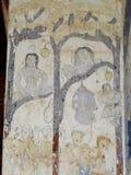 Målning för freskomålning för THAILÄNDSK berömd unik mytberättelse för ESARN vägg- Arkivfoto