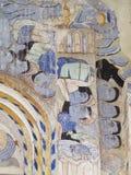 Målning för freskomålning för THAILÄNDSK berömd unik mytberättelse för ESARN vägg- Arkivbild