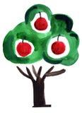 Målning för intryck för vattenfärgäppleträd Arkivbild