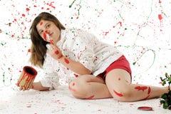 målning för jul hon själv Arkivfoto