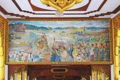 Målning för Kyauk Taw Gyi pagod` s, Yangon, Myanmar Arkivbild