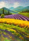 Målning för lavendellilafält Italiensk sommarbygd Franska Tuscany Fält av gul råg Lantliga hus och hög cypresstre Arkivbild