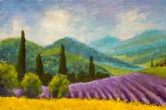 Målning för lavendellilafält Italiensk sommarbygd Franska Tuscany Fält av gul råg Lantliga hus och hög cypresstre Royaltyfria Foton