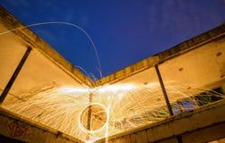 Målning för ljus för spiral för virvel för stålull Fotografering för Bildbyråer