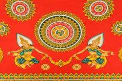 Målning för Loas stilkonst på templet för bakgrund Arkivbilder