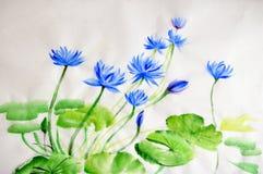 Målning för Nymphaeablommavattenfärg royaltyfri illustrationer