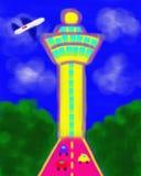 Målning för Singapore Changi flygplatsabstrakt begrepp Royaltyfri Bild