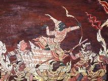 Målning för vägg för Ramayana episk berättelsetempel, thailändsk väggmålning royaltyfria bilder