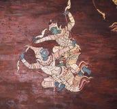 Målning för vägg för Ramayana episk berättelsetempel, thailändsk väggmålning arkivbild